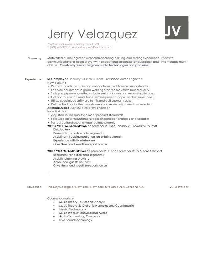 Remarkable Audio Engineer Resume 15 Sample Visual Technician ...