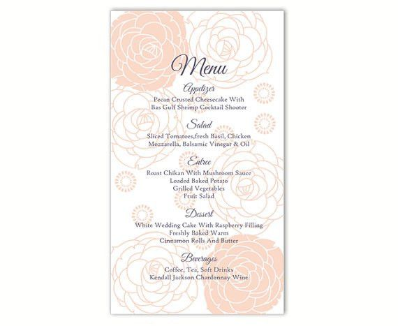 Wedding Menu Template DIY Menu Card Template Editable Word File ...