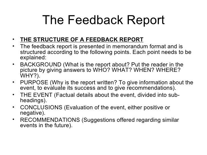 Revision the formal investigative report and feedback report