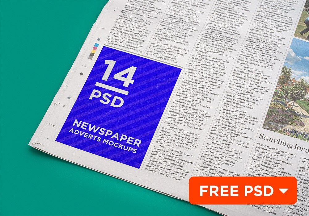 Newspaper Advert Mockup Template Free PSD Download - Download PSD