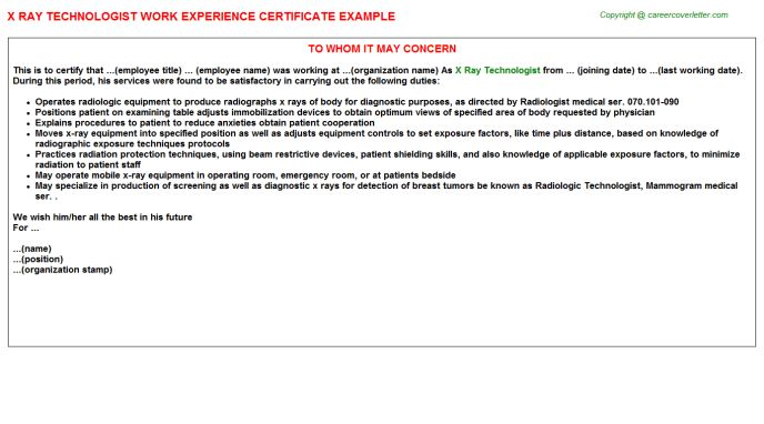 x ray technologist work experience certificate - X Ray Technologist Job Description