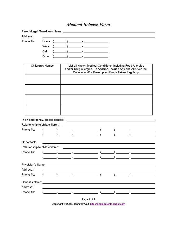 Medical Release Form For Minor. Daycare Medical Forms Daycare ...