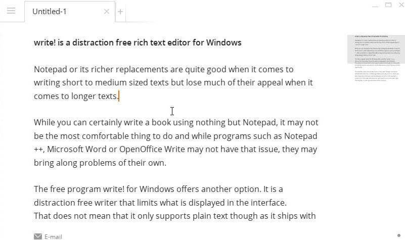 Write! is a distraction free rich text editor for Windows - gHacks ...