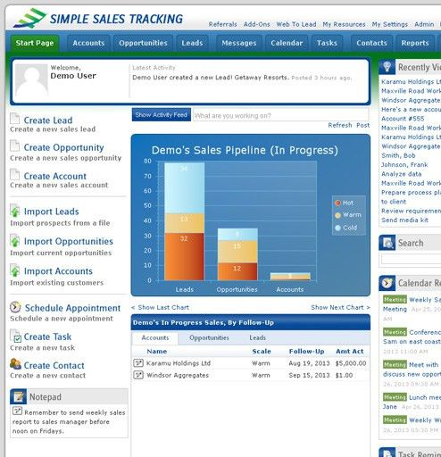 Simple Sales Tracking | Easy, Web Based Hosted CRM Software, Lead ...
