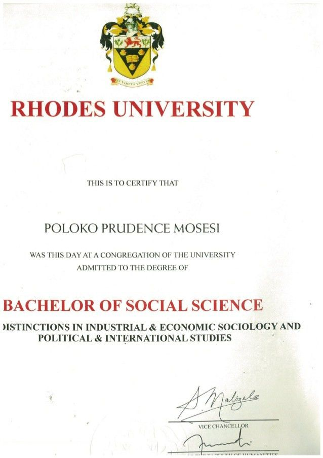 of Social Sciences degree certificate