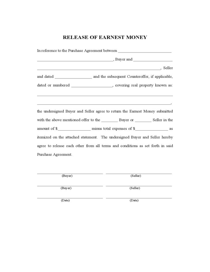 Release of Earnest Money Free Download