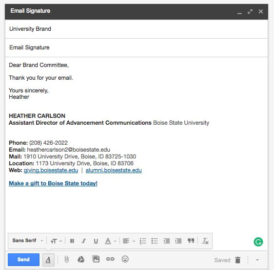 Email Signature - Brand Standards