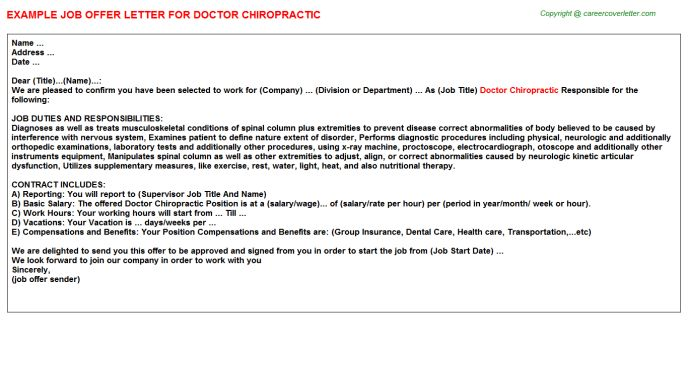 Doctor Chiropractic Offer Letter