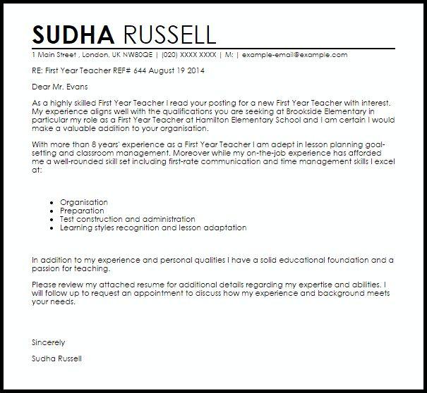teacher cover letter samples. teaching job resume cover letter ...