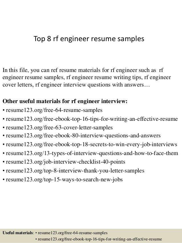 Download Rf Engineer Sample Resume | haadyaooverbayresort.com