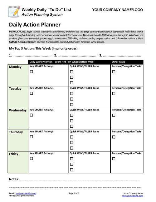 Business Coaching - Weekly Daily To Do List Action Planner ...