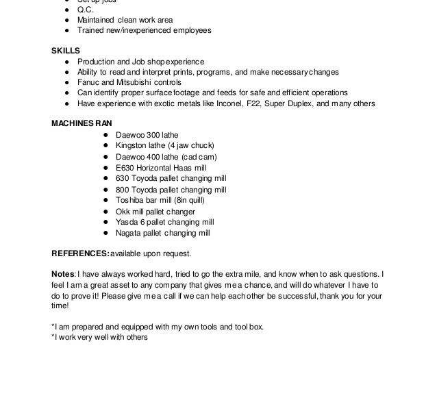 cnc machinist resume samples cnc machinist resume samples