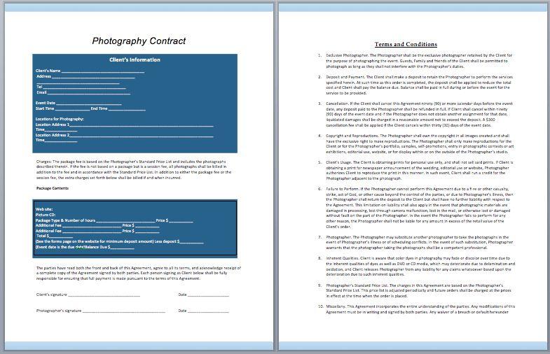 Photography Contract Template (Wedding) – ContractGuru
