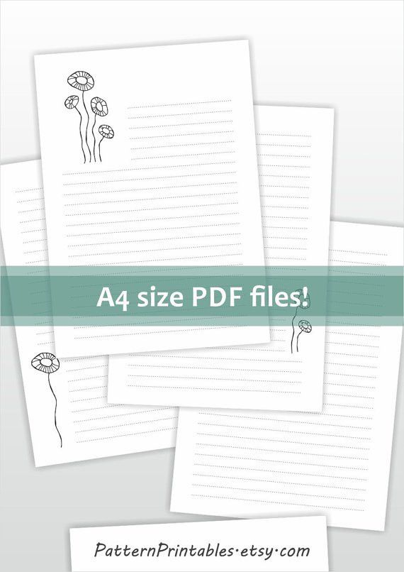 Lined printable letter paper. A4 size stationery. Digital file