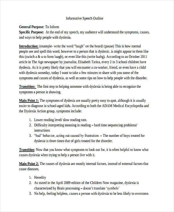 8+ Informative Speech Examples, Samples