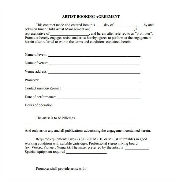 Booking Agent Contract Template - 9+ Download Free Documents in ...