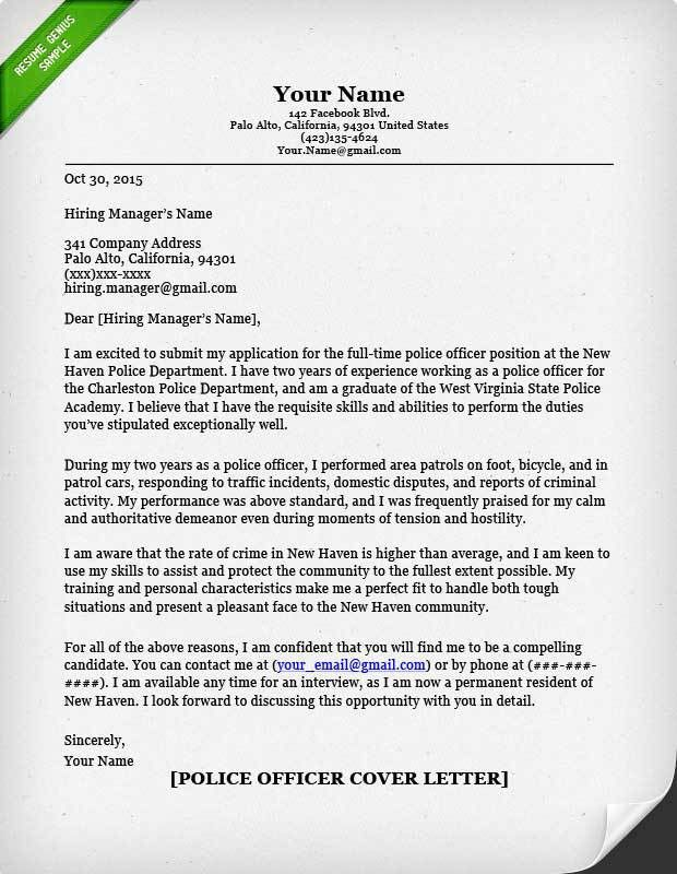 Cool Design Cover Letter For Police Officer 5 Resignation Examples ...