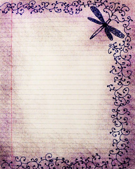 Printable Journal Page,Dragonfly, Swirls, Pen and Ink Drawing ...
