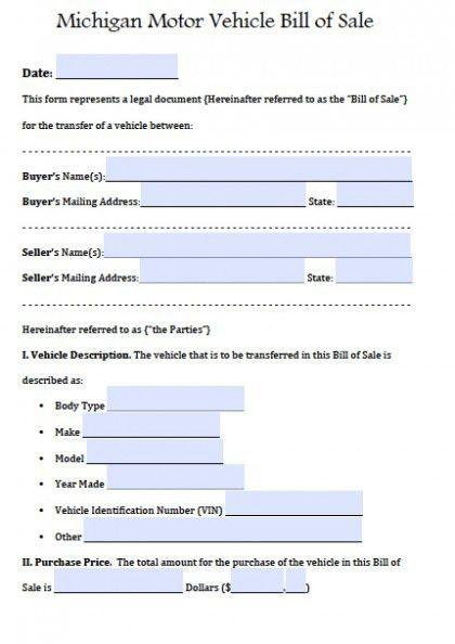 Free Michigan Motor Vehicle Bill of Sale Form | PDF | Word (.doc)