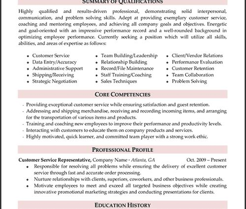 resume example capabilities summary. customer service resume ...