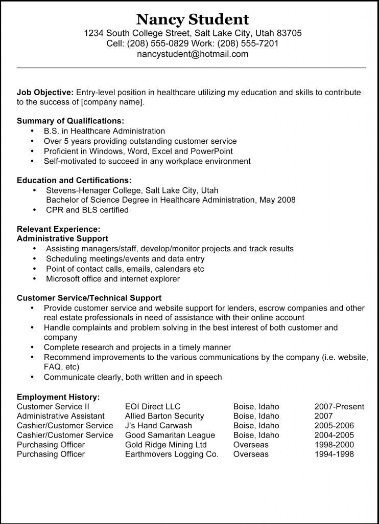 sample resume sample resume template for job application example ...
