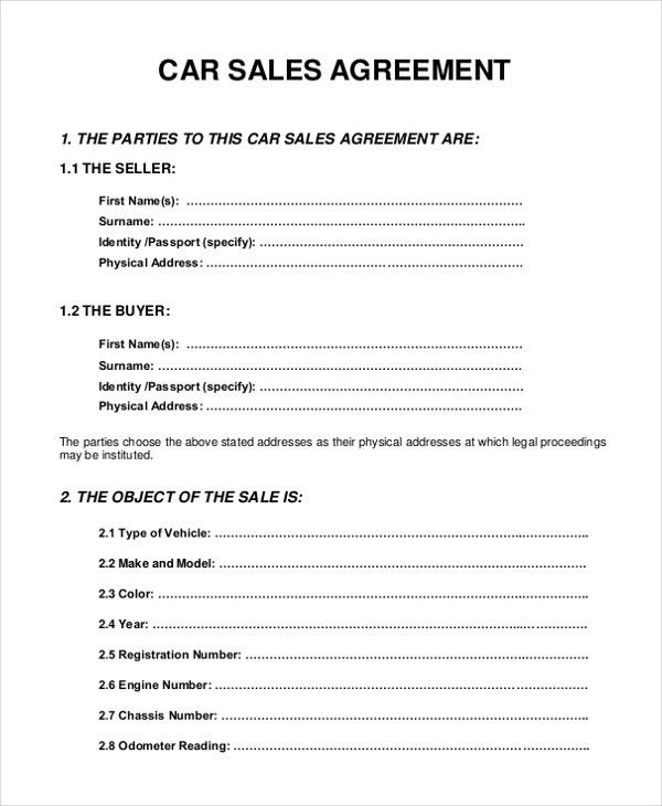 10+ Sample Sales Agreement Forms - Free Sample, Example, Format