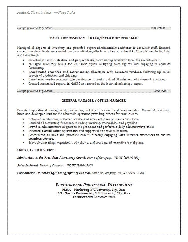 Inventory Resume Example