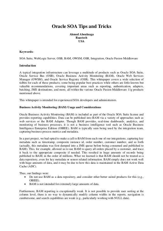Oracle SOA Tips & Tricks (whitepaper)