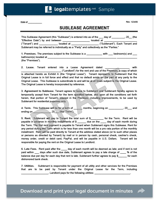 Create a Free Sublease Agreement - Download & Print | Legal Templates