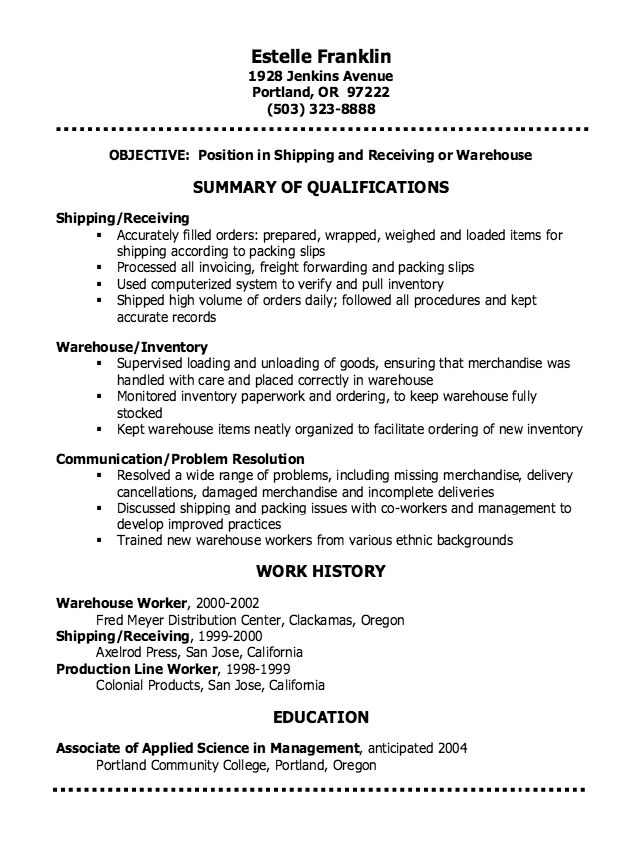 Warehouse Clerk Resume 22 Sample For 2017 Inside 15267 - Resume ...