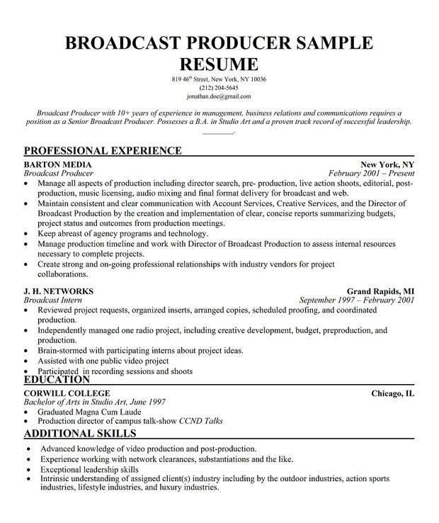 Production Resume Template. Broadcast Producer Resume Sample (Http ...