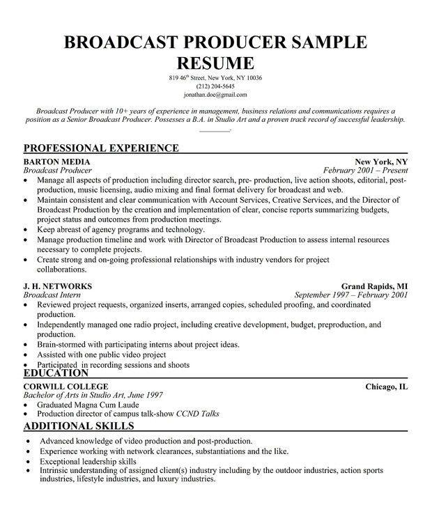 7 best PRODUCER Resume images on Pinterest | Career, Resume ...