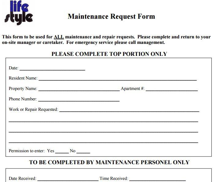 Great 28+ Maintenance Request Form Template | Service Request Form .