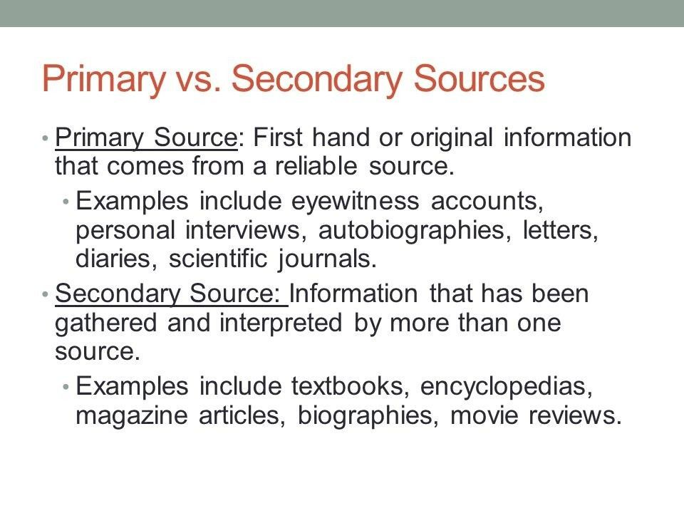 Example Of Secondary Source | World of Examples