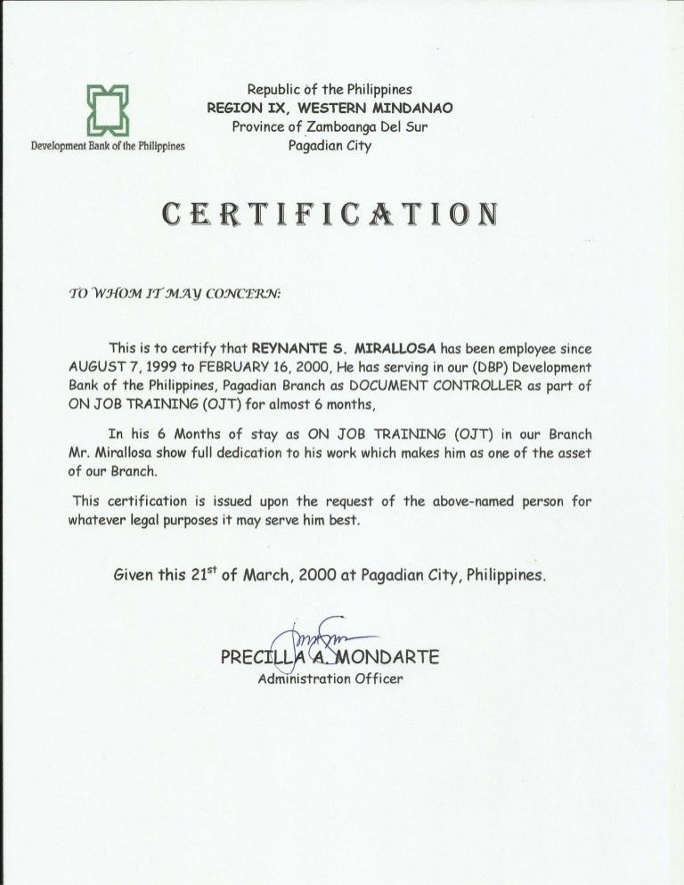 Certificate of employment [dbp as ojt]