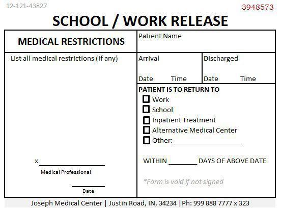 24 Professional Doctors Note For Work - Demplates
