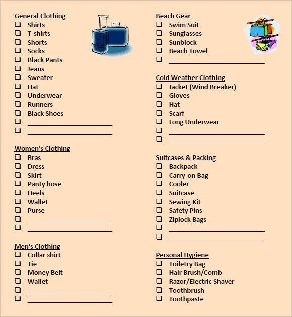 100+ Word Packing List Template | Free List Templates Microsoft ...
