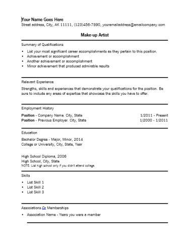 art resume templates artist resume templates. aspiring makeup ...