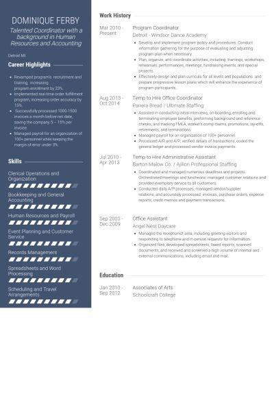 Program Coordinator Resume samples - VisualCV resume samples database