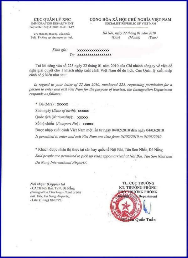 Vietnam Visa Approval Letter - Vietnam visa, Tourist Visa - Visa ...