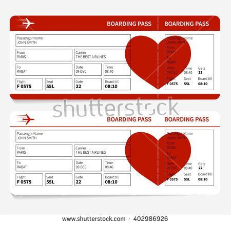 Template Airline Boarding Pass Tickets Heart Stock Illustration ...