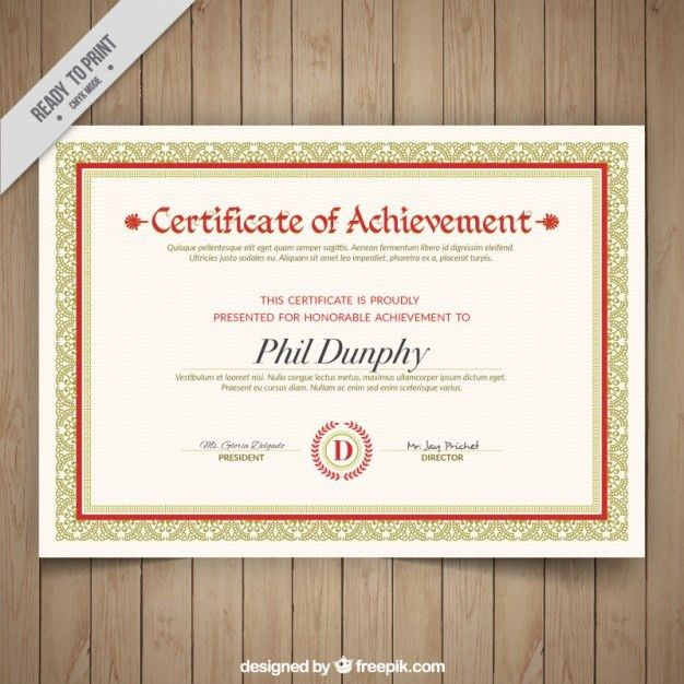 Elegant certificate of achievement with ornaments Vector | Free ...
