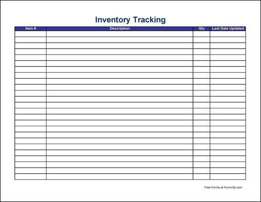 Free Simple Inventory Tracking Sheet (Wide) from Formville