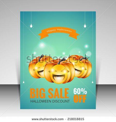 Vector Halloween Party Flyer Design Typographic Stock Vector ...