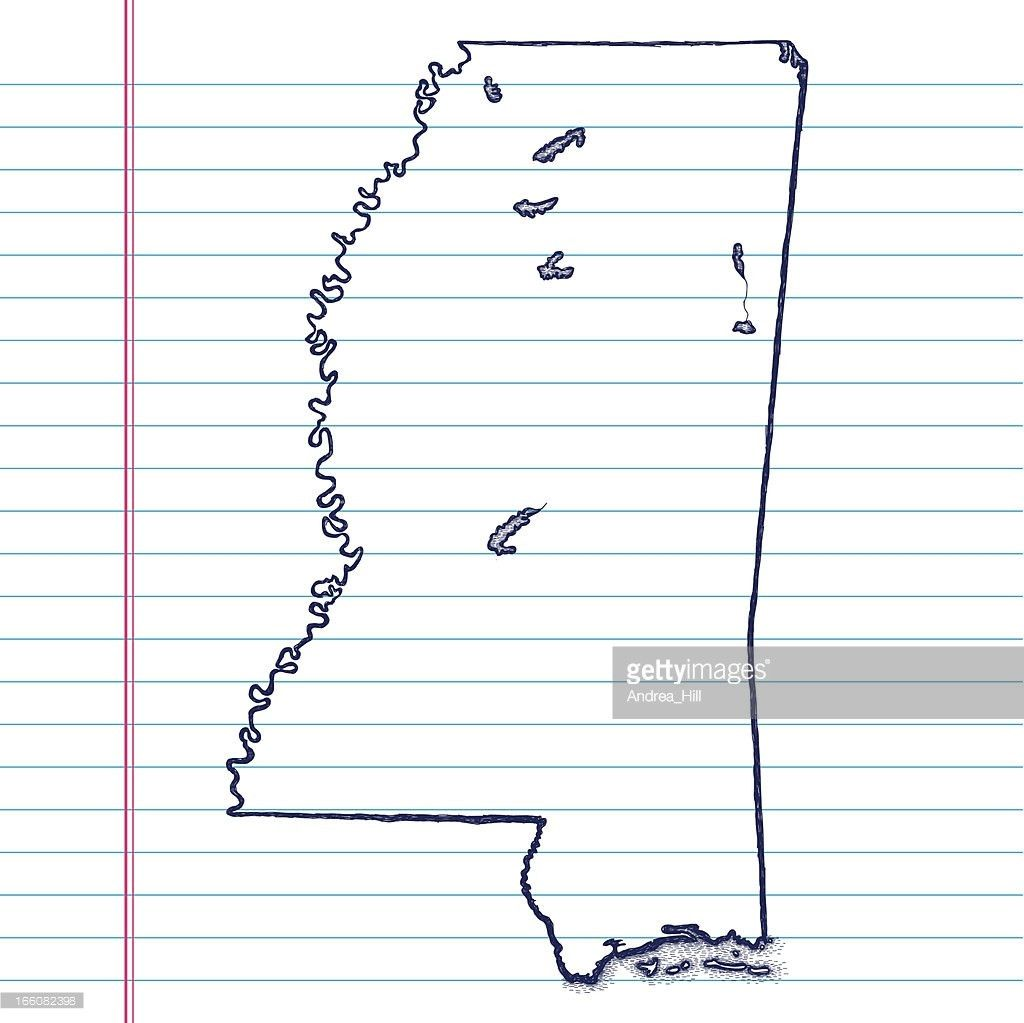 Vector Sketchy Map On White Lined Paper Background West Virginia ...