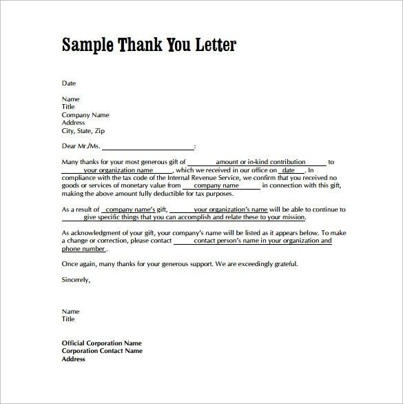 Thank You Letter Examples Pdf. Thank You Letter For Appreciation ...