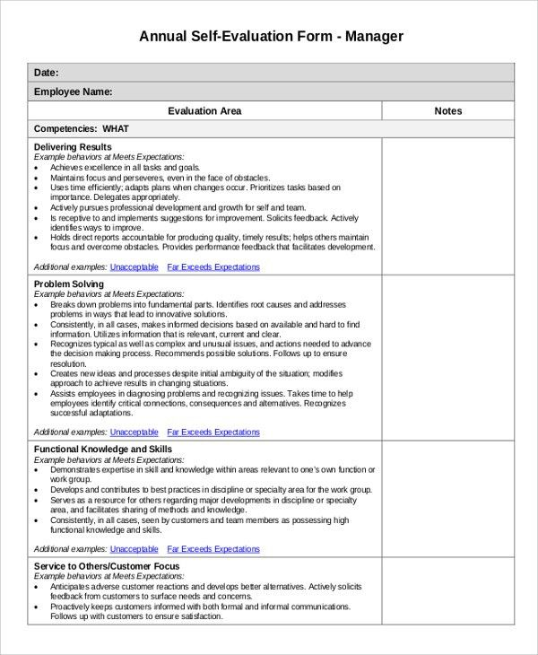 Sample Employee Evaluation   7+ Examples In PDF, Word