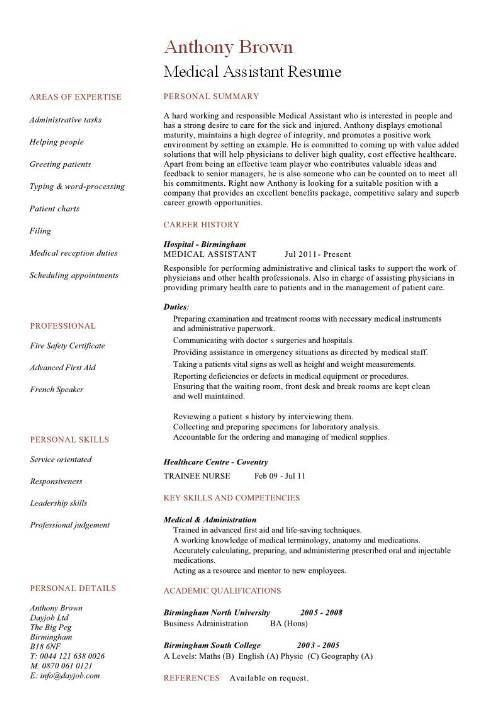 resume template medical paramedic cv physiotherapist cv medical cv ...