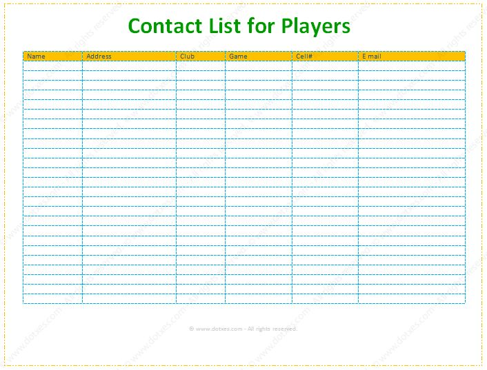 Contact and Phone List Template (For Supports) - Dotxes