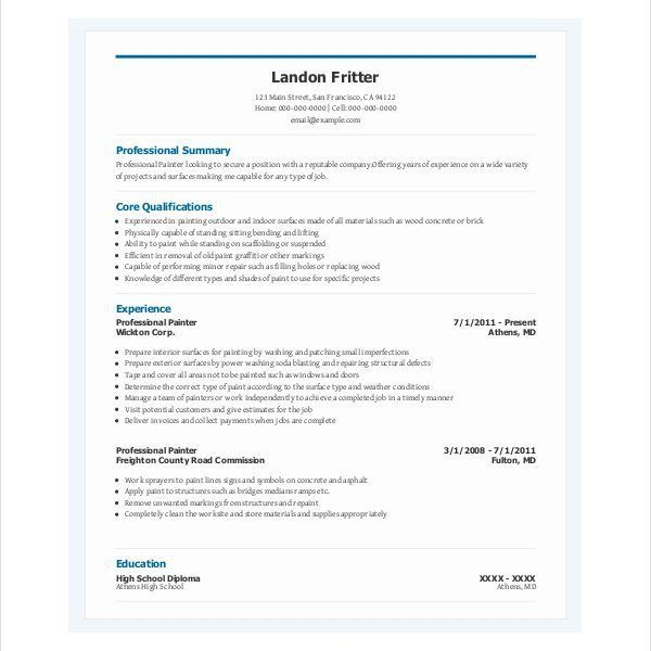 Download Painter Resume | haadyaooverbayresort.com